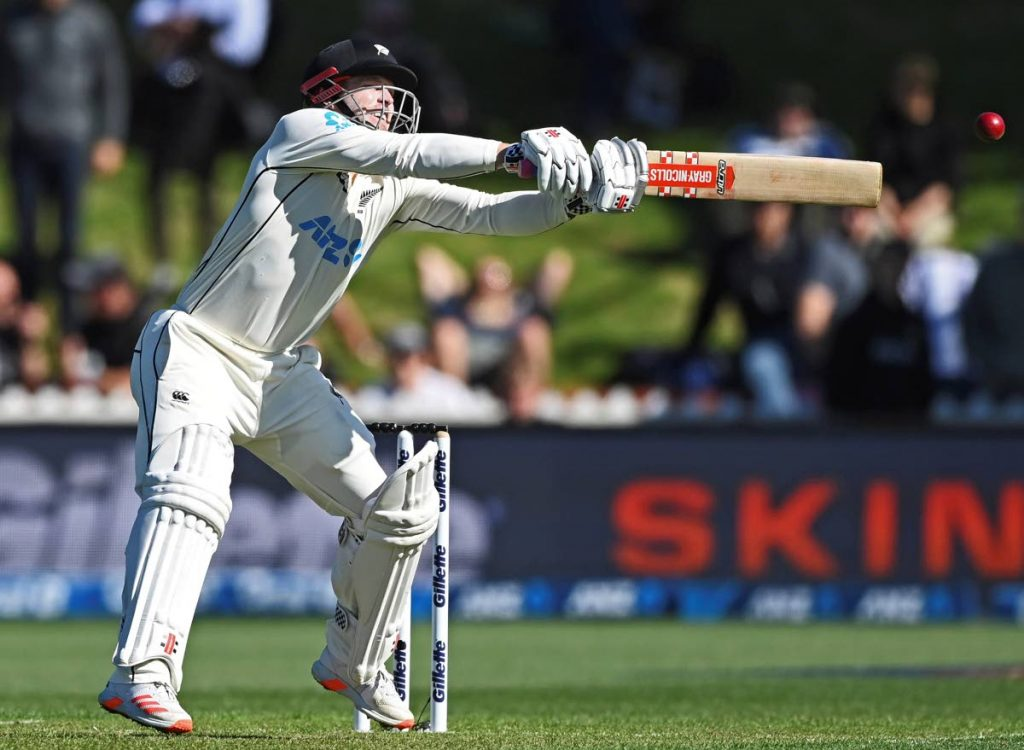 New Zealand's Henry Nicholls plays at a wide delivery from the West Indies during play on the first day of the second Test at Basin Reserve in Wellington, New Zealand,on Friday. via AP -