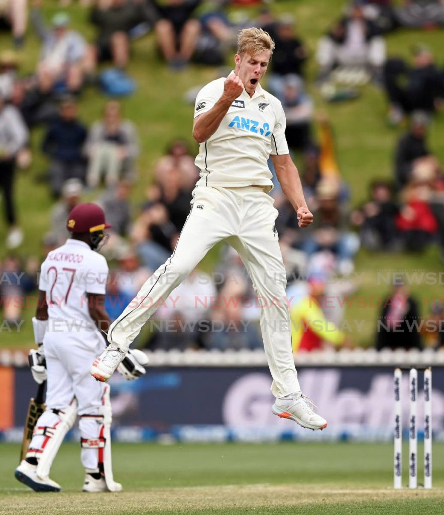 New Zealand bowler Kyle Jamieson, right, celebrates the wicket of West Indies' John Campbell on the third day of their second Test at Basin Reserve in Wellington, New Zealand, on Saturday. (via AP) -
