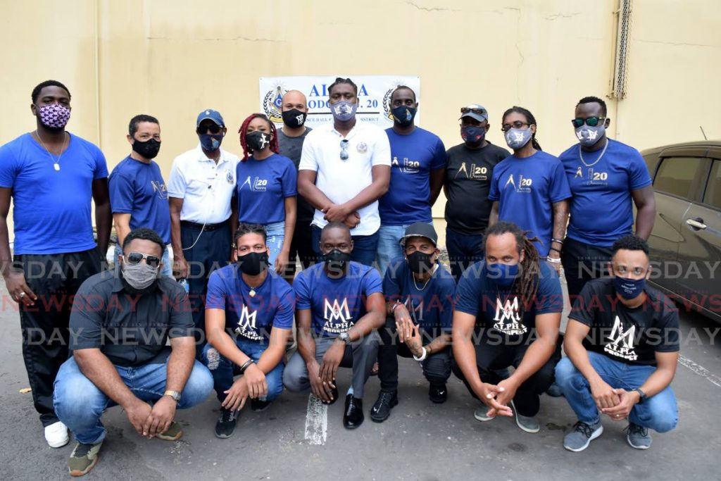 The organising team of the Alpha Lodge No 20 PHA which hosted their first relief giveaway event in the carpark next to CoPos Credit Union, Pembroke Street, Port of Spain, on Saturday. - Vidya Thurab