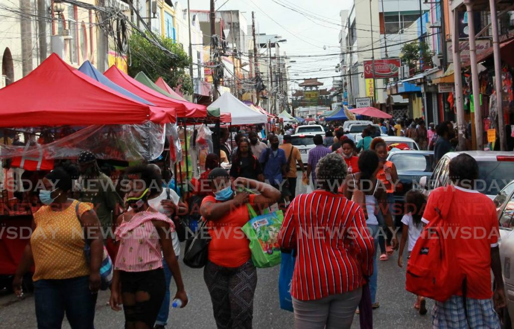 A crowded Charlotte Street in Port of Spain in this file photo by Roger Jacob