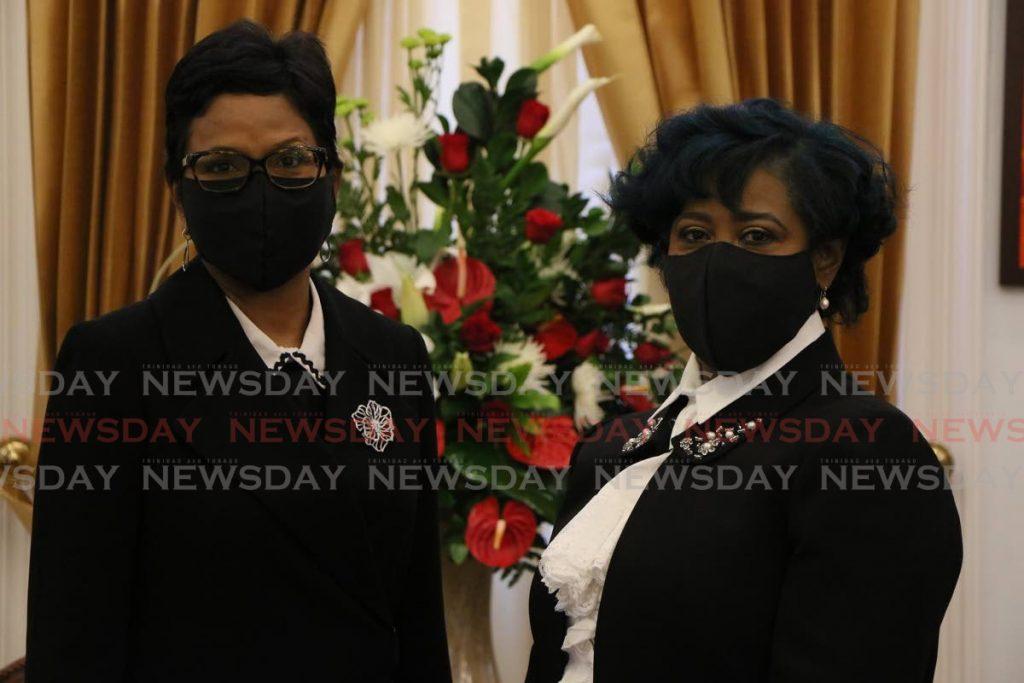 Senate President Christine Kangaloo, left, and House Speaker Bridgid Annisette-George. -