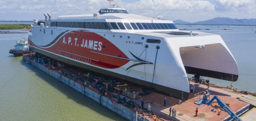 The A.P.T. James fast ferry for Tobago  - Photo taken from austal.com