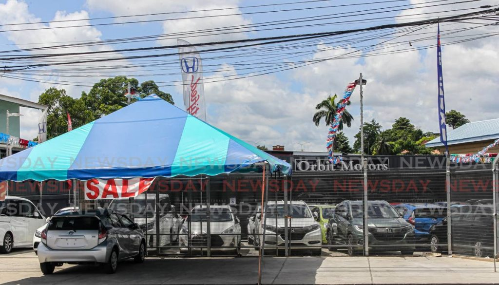 Vehicles for sale on the compound of Orbit Motors, Bay Road, San Fernando. In his budget presentation last year, Finance Minister Colm Imbert said more than US$400 million (TT$2.5 billion) was spent annually on importing cars, of which at least two thirds was spent on private vehicles.  - Lincoln Holder
