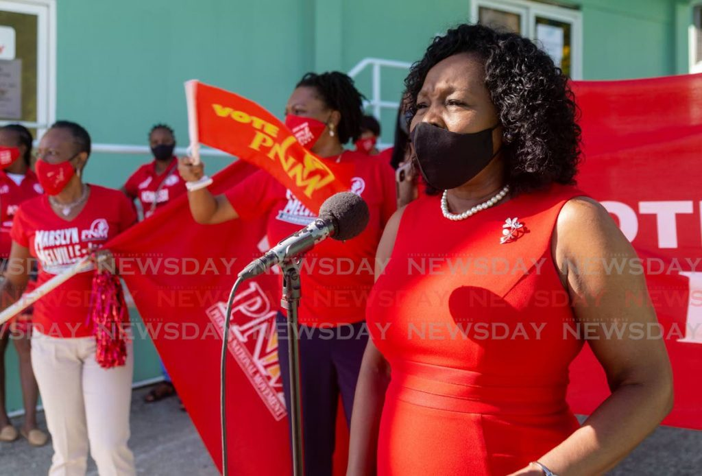 File photo: The PNM's Marslyn Melville-Jack speaks to supporters after filing her nomination paper last week.  -