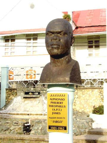 The bust of APT James at James Park, Scarborough. -