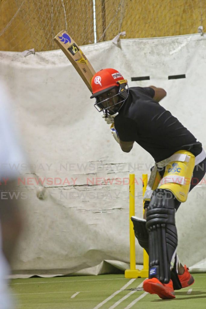 All-rounder Dwayne Bravo takes part in a TT Red Force training session, at the National Cricket Centre, Balmain, Couva, on Wednesday. - Marvin Hamilton