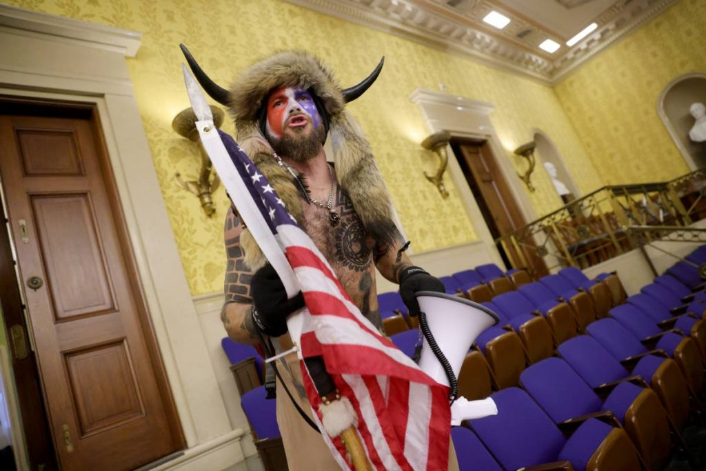 A protester yells inside the Senate Chamber. - WIN MCNAMEE