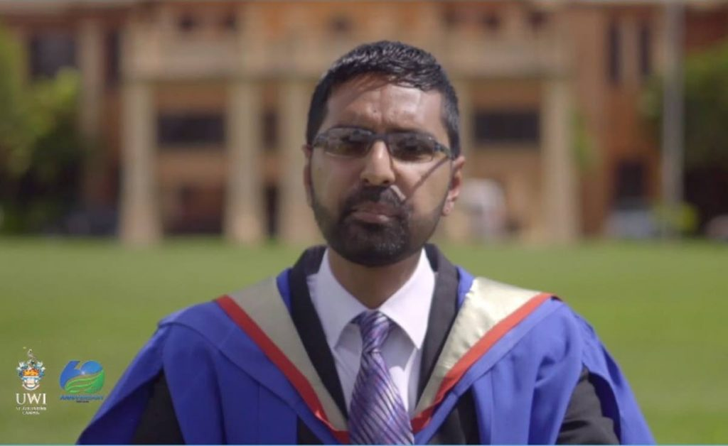 Valedictorian for the Faculties of Food and Agriculture and Science and Technology at the University of the West Indies, Richard Ali, delivers the valedictory speech on Monday - Photo screengrab from UWITV