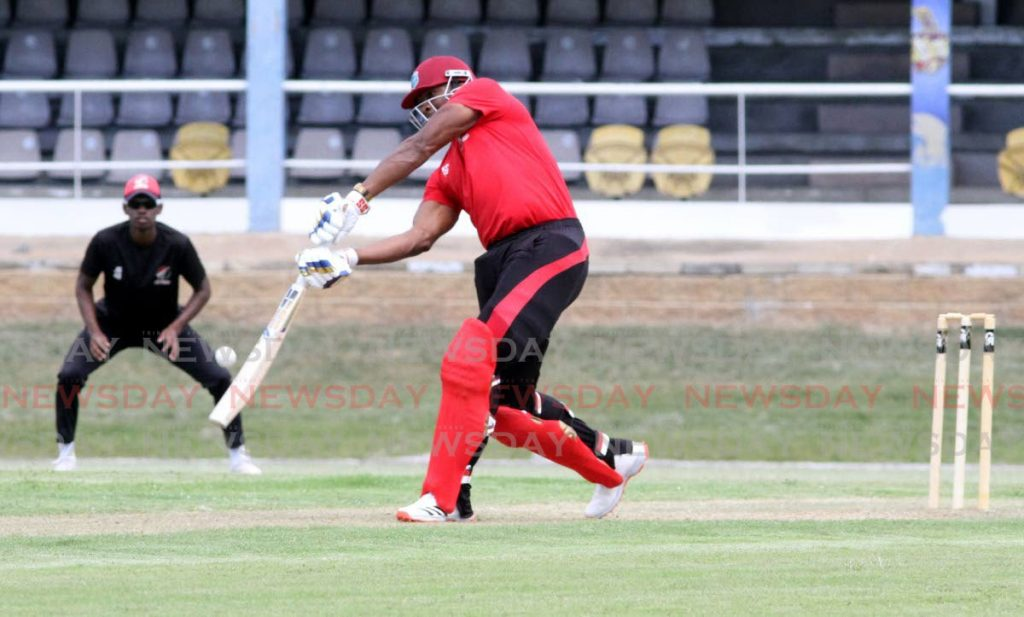 TT Red Force captain Kieron Pollard plays a stroke through the off-side during a practice match at the Queen's Park Oval, St Clair on Wednesday. PHOTO BY ANGELO MARCELLE. -