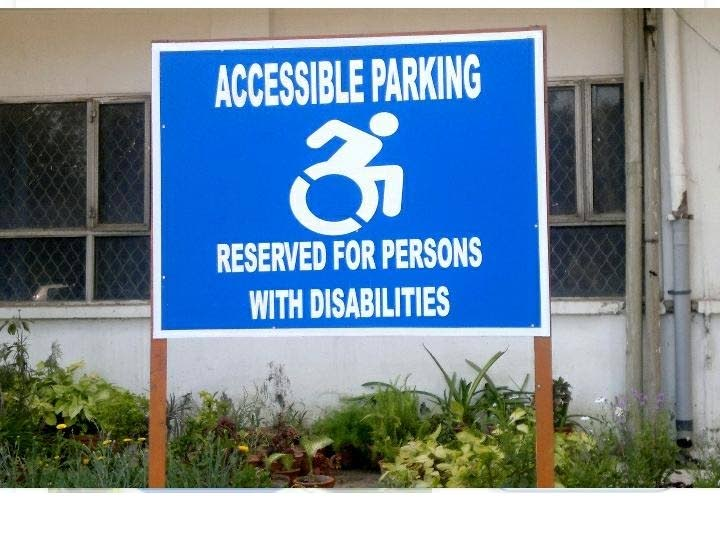 Do not park in parking spaces reserves for wheelchair users, -