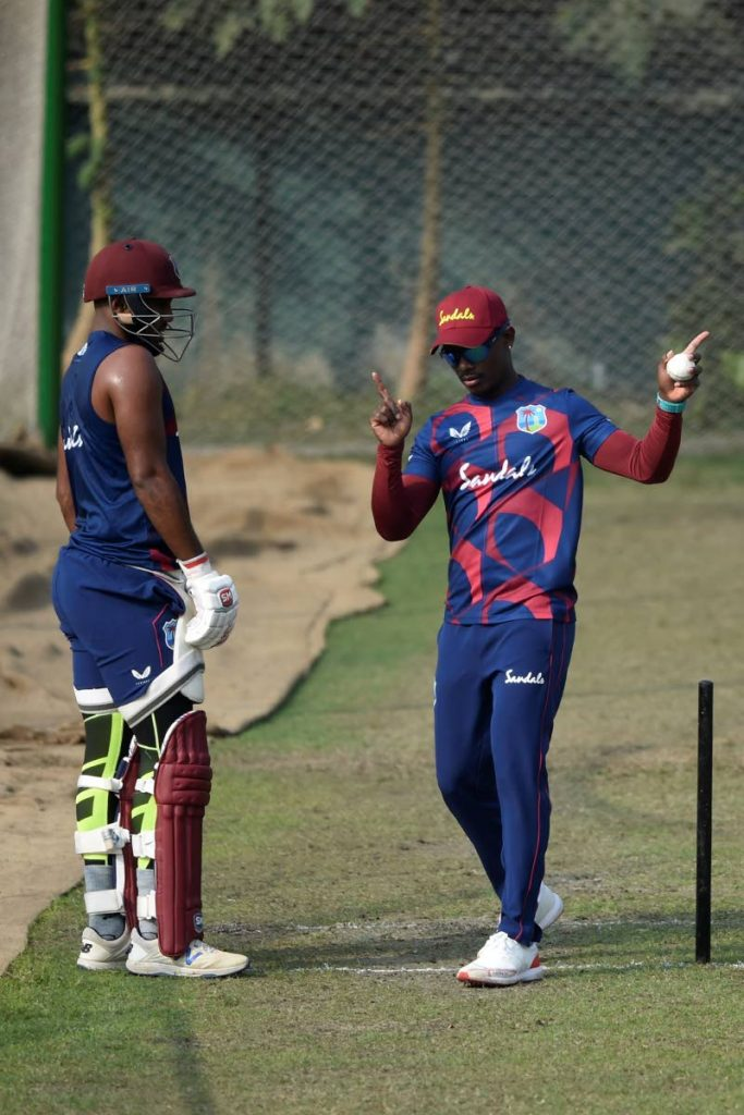 In this Jan 15 photo, West Indies ODI skipper Jason Mohammed (right) speaks to his deputy Sunil Ambris during a practice session at the Sher-e-Bangla National Cricket Stadium, Dhaka, Bangladesh. (AFP PHOTO) -