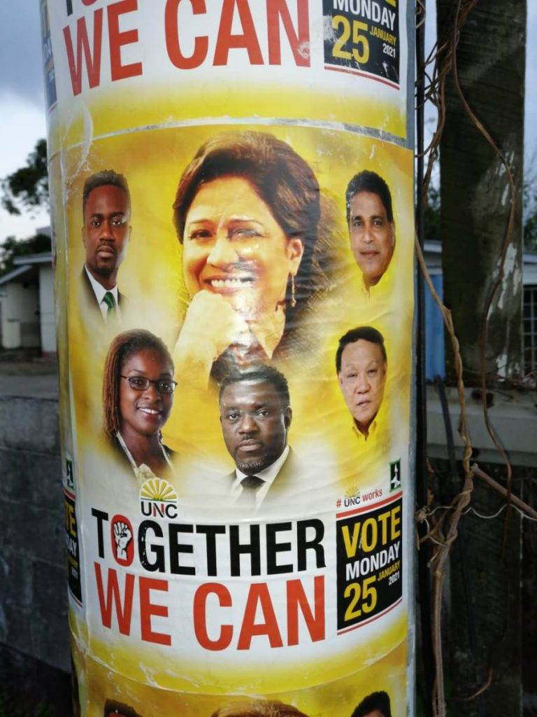 Posters insinuating a link between the UNC and PDP appeared in Tobago on Monday ahead of the  January 25 THA election. -