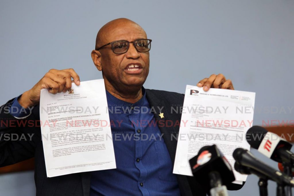 In this file photo, Ancel Roget, president general of the OWTU and head of Patriotic Energies and Technology addresses the media at a press conference at Paramount building, San Fernando on the failed bid for the Pointe-a-Pierre refinery. Roget holds a copy of a letter they received from the finance minister and their response to the letter. -
