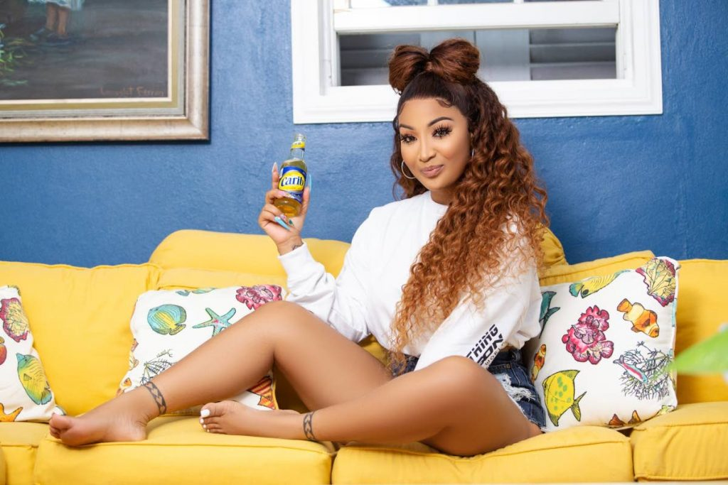 Dancehall star Shenseea in a promotional image for Carib beer. Photo courtesy Carib -