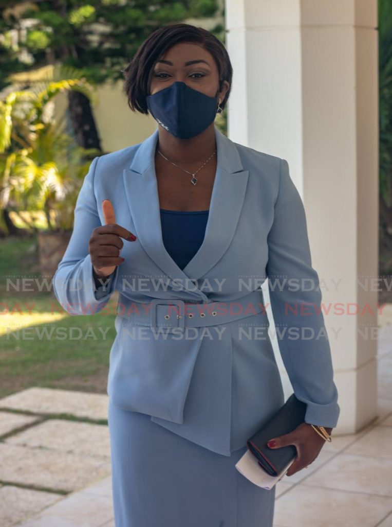 PNM Tobago leader and Lambeau/Signal Hill representative Tracy Davidson-Celestine at Magdalena Grand Beach & Golf Resort on Thursday for the swearing in of Assemblymen. PHOTO BY JEFF K MAYERS -