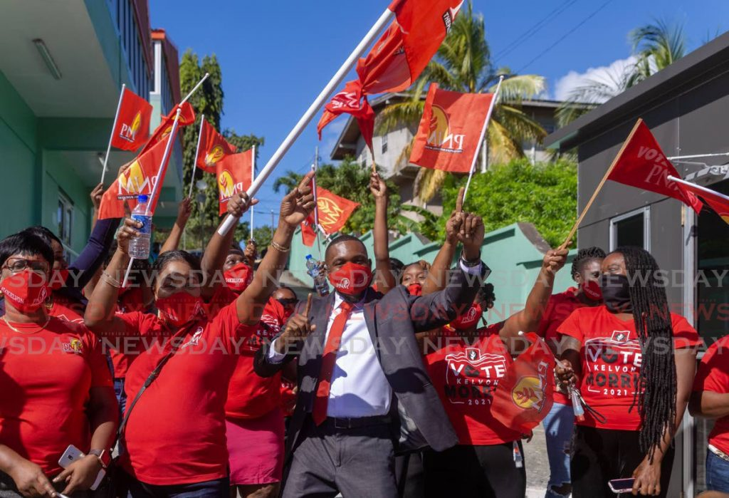 PNM supporters celebrate with Kelvon Morrison on nomination day for the THA election on January 4. Morrison won the Black Rock/Whim/Spring Garden district the January 25 election which ended in the six-six deadlock. File photo  -