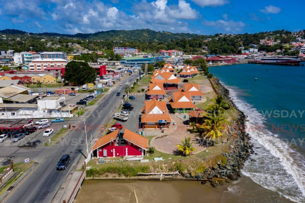 An aerial view of the Scarborough Esplanade at Milford Road, Scarborough, Tobago.