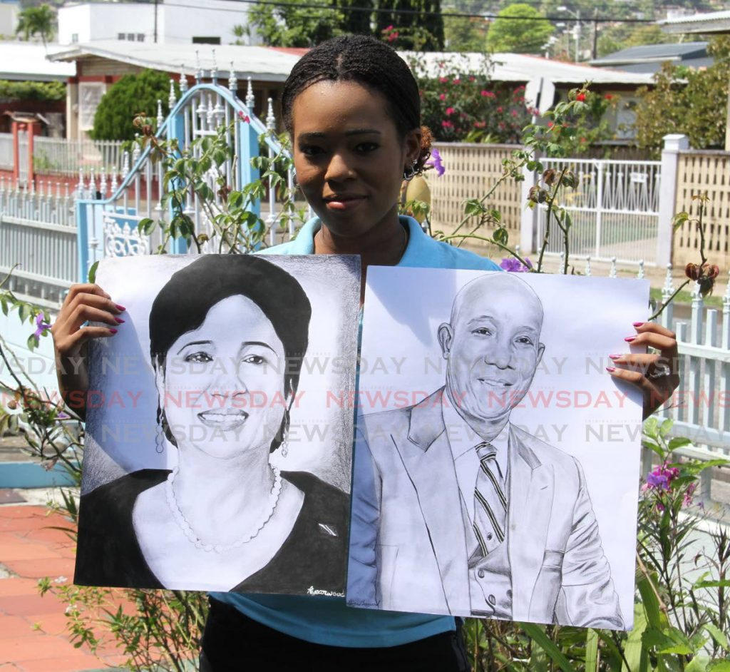 This portrait of  Prime Minister Dr Keith Rowley and Opposition Leader Kamla Persad-Bissessar landed Abigail Yearwood in a political firestorm.  - Angelo Marcelle