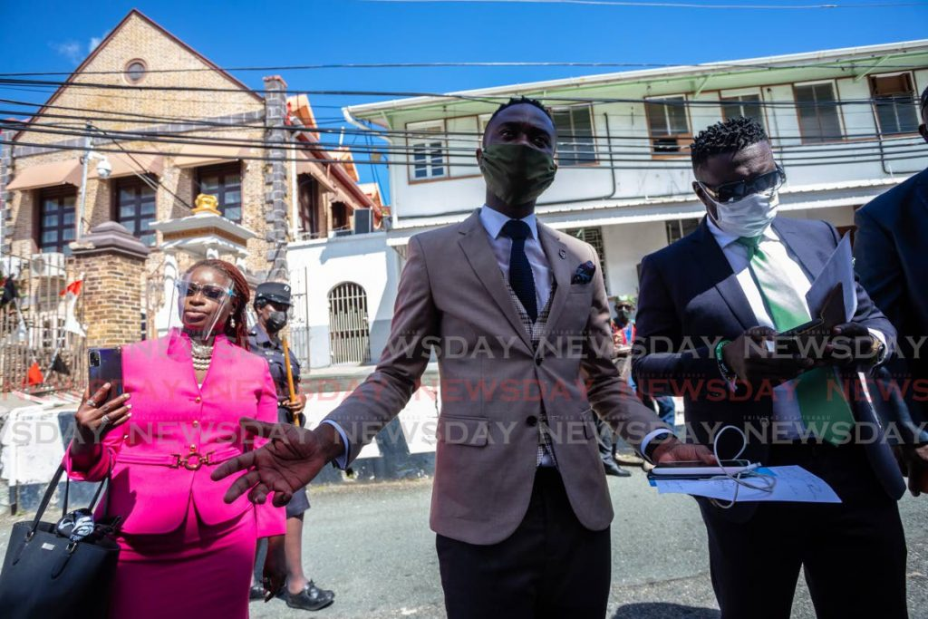 FILE PHOTO: PDP deputy leader Farley Augustine, centre, outside the Assembly Legislature Building Scarborough, Tobago, on January 28. Also in photo is PDP Goodwood/Belle Garden assemblyman Faith BYisrael, left and PDP leader Watson Duke. - JEFF K MAYERS
