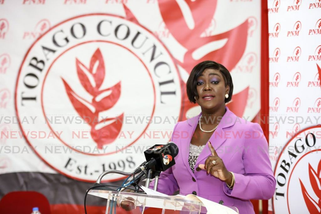 PNM Tobago Council political leader Tracey Davidson-Celestine at a recent press conference in Tobago. - Jeff Mayers