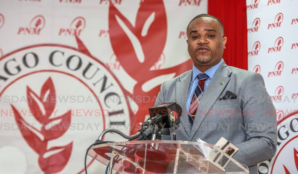 PNM Tobago Council PRO and Secretary of Infrastructure, Quarries and the Environment Kwesi DesVignes at a press conference on Tuesday in Scarborough. PHOTO BY JEFF K MAYERS  -
