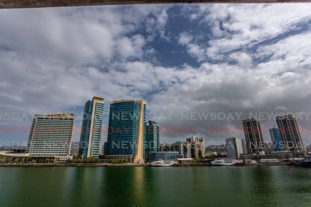 The International Waterfront, Port of Spain from the sea.  Hyatt, Tower C & Tower D, Twin Towers. Photo by Jeff K Mayers