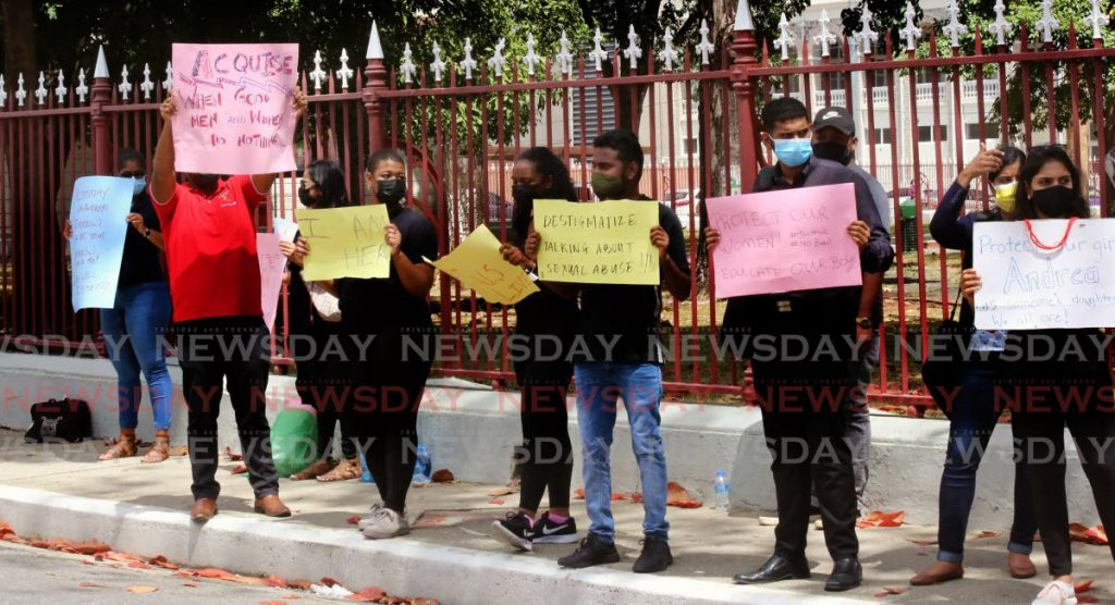 In this February 2021 file photo, a number of concerned individuals protest outside parliament for the murder of Andrea Bharatt, Ashanti Riley and other young girls. Photo by Sureash Cholai