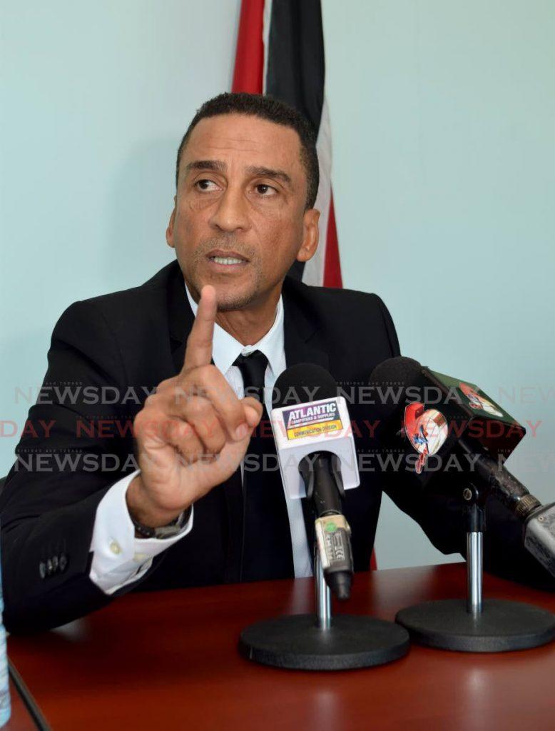 UNC Senator David Nakhid at a recent press conference in Port of Spain. PHOTO BY VIDYA THURAB  -