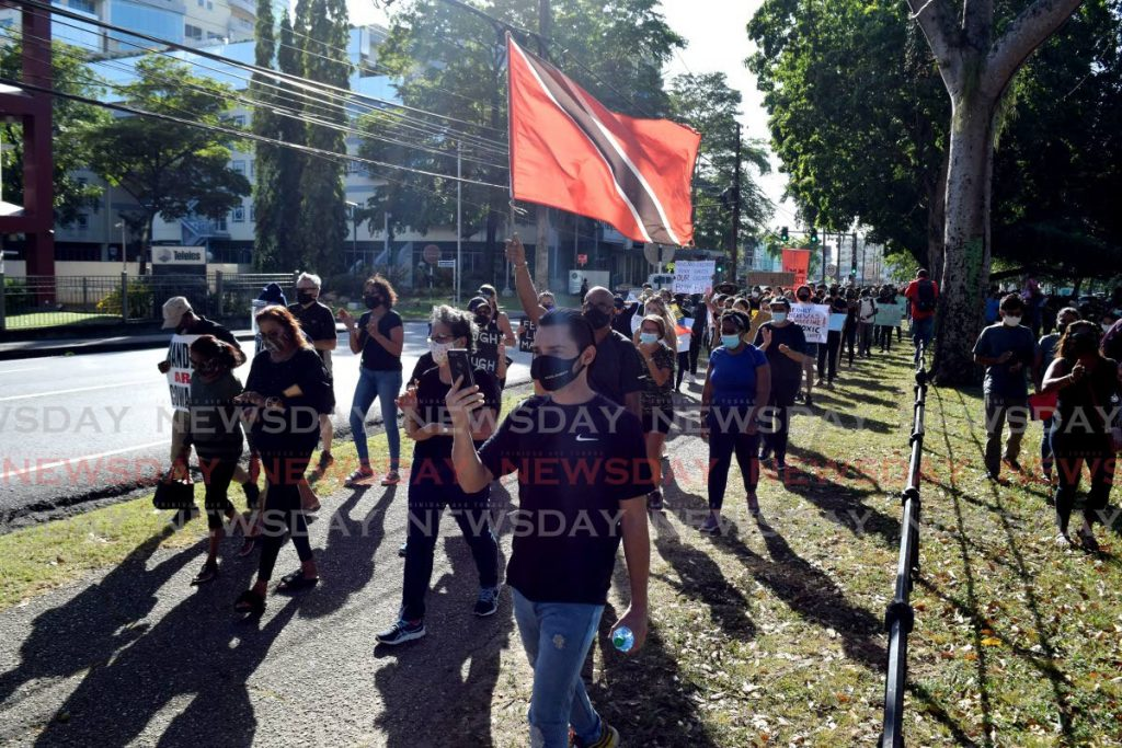 File photo: Protesters turned out in their numbers last week to call for justice for Andrea Bharatt and protection for the nation's women as they marched around the Queen's Park Savannah in Port of Spain. PHOTO BY VIDYA THURAB -