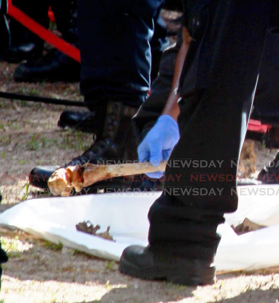 RETRIEVED: An officer places a large bone, resembling that of a femur, into a body bag on Sunday at the Heights of Aripo. PHOTOS BY ROGER JACOB -