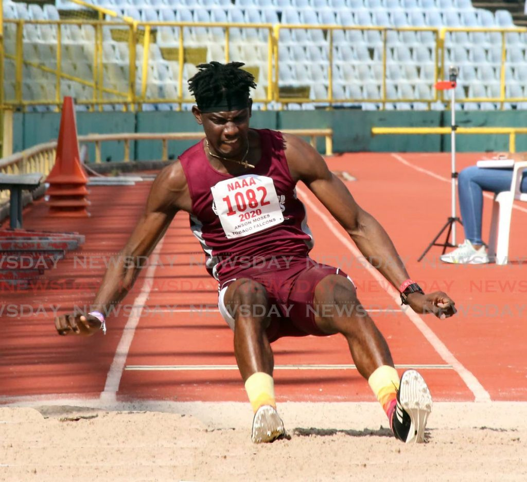Tobago Falcons' Anson Moses takes part in the long jump at the National Association of Athletics Administrations'  2021 test meet , at the Hasely Crawford Stadium, on Saturday.  - SUREASH CHOLAI