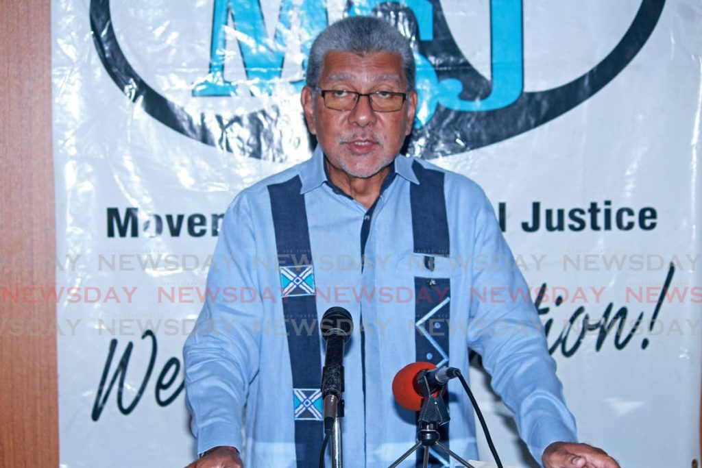 MSJ political leader David Abdulah during a press conference at his Lord Street, San Fernando office on Sunday. - CHEQUANA WHEELER