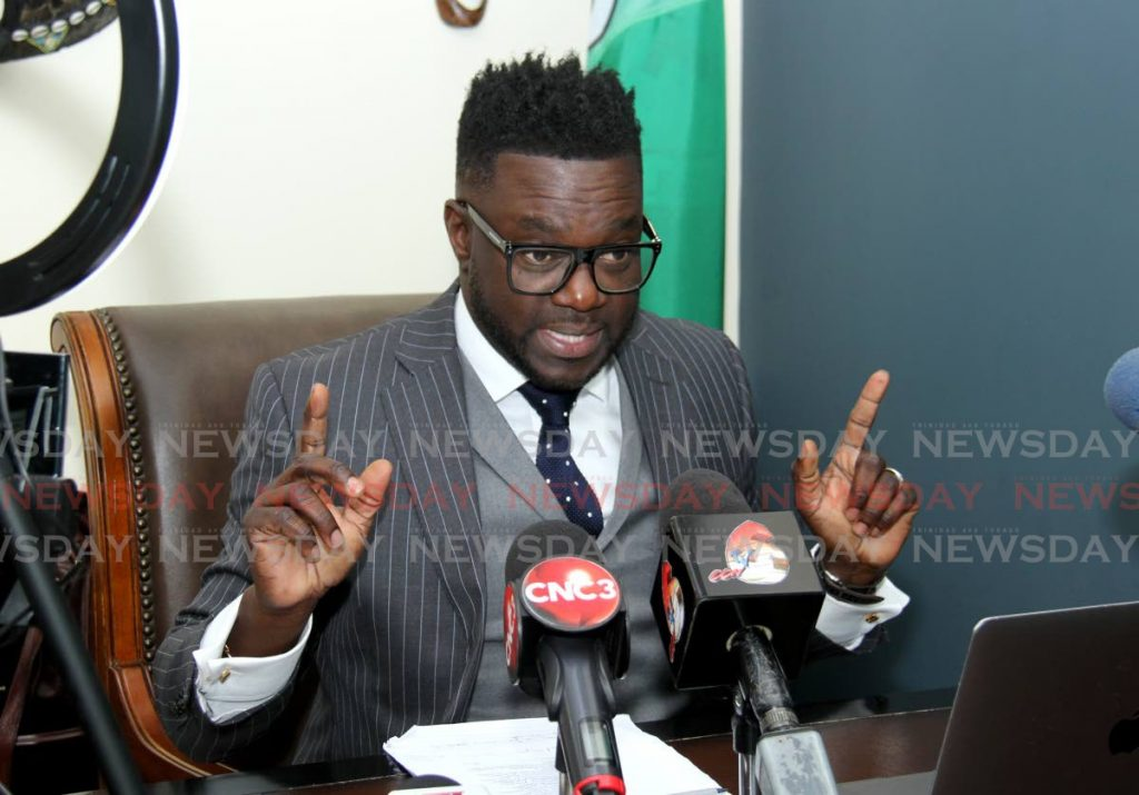 PDP political leader Watson Duke speaks to the media at a press conference on Monday at PSA headquarters, Abercromby Street, Port of Spain. PHOTO BY AYANNA KINSALE  -