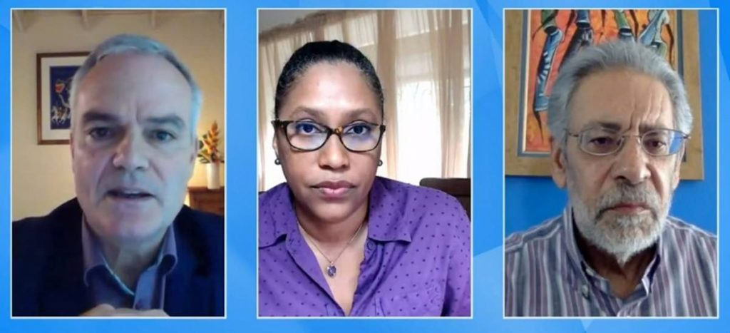 Panellists of the UWI's covid19 vaccination Q&A session. L-R: Professor Clive Landis, Professor Christine Carrington, and Dr Peter Figueroa. - Screengrab of UWITV broadcast
