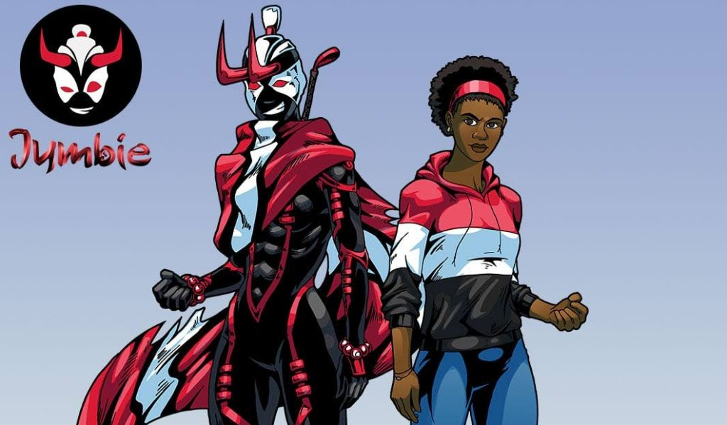 The  character of Giselle Anderson, right, and her superhero alter ego Jumbie.