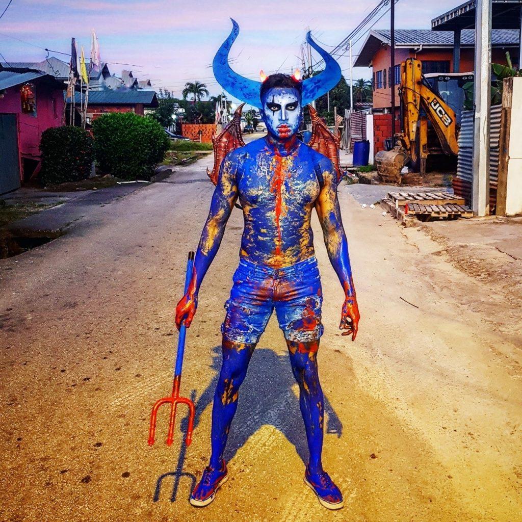 International mas maker Sudesh Ramsaran in his J'Ouvert costume.