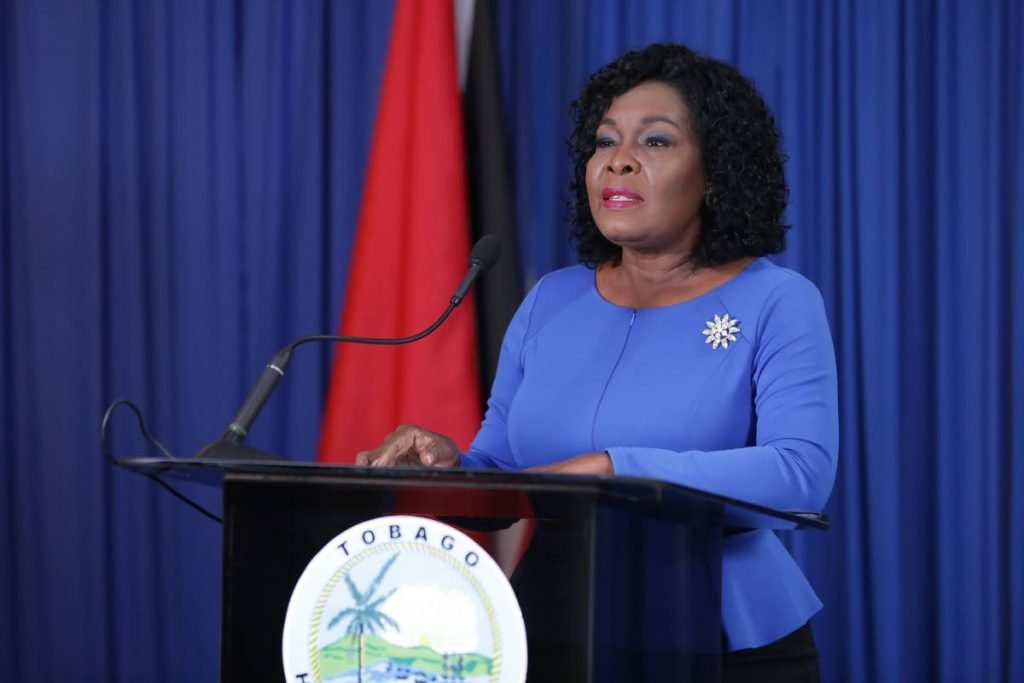 Secretary of Education Marslyn Melville-Jack at a press conference on Wednesday in Scarborough. PHOTO COURTESY THA -