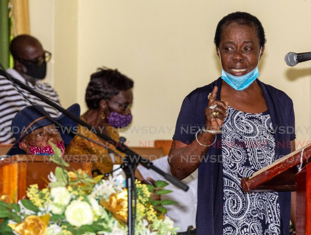 Erma Baynes, aunt of Ryan Thornhill, Tobago's first murder victim for 2021, gives the eulogy at his funeral service on Thursday at Montgomery Moravian Church, Bethel. PHOTO BY DAVID REID