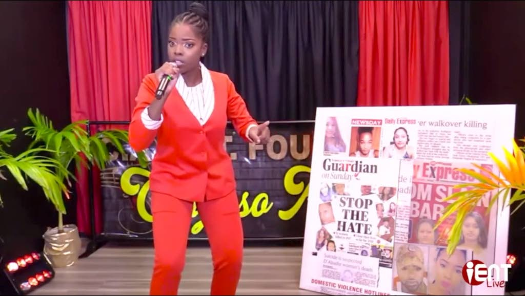 Cindy Ann Bigford performs Stop Domestic Violence to win the 13-17 category of the virtual Junior Calypso Festival. -