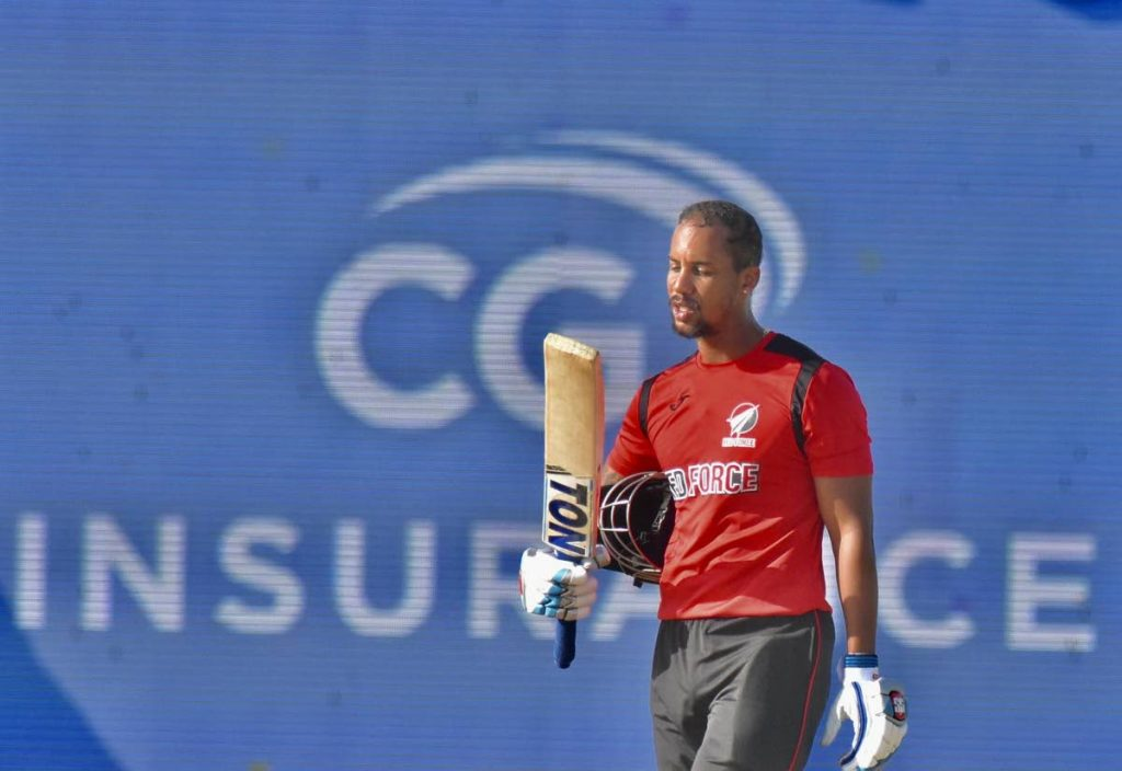 TT Red Force batsman Lendl Simmons created history, on Saturday, after making the highest individual score in the history of the regional Super50 finals. Simmons topscored for the TT outfit with 146 against the Guyana Jaguars, at Coolidge Cricket Ground, Antigua. - CWI Media