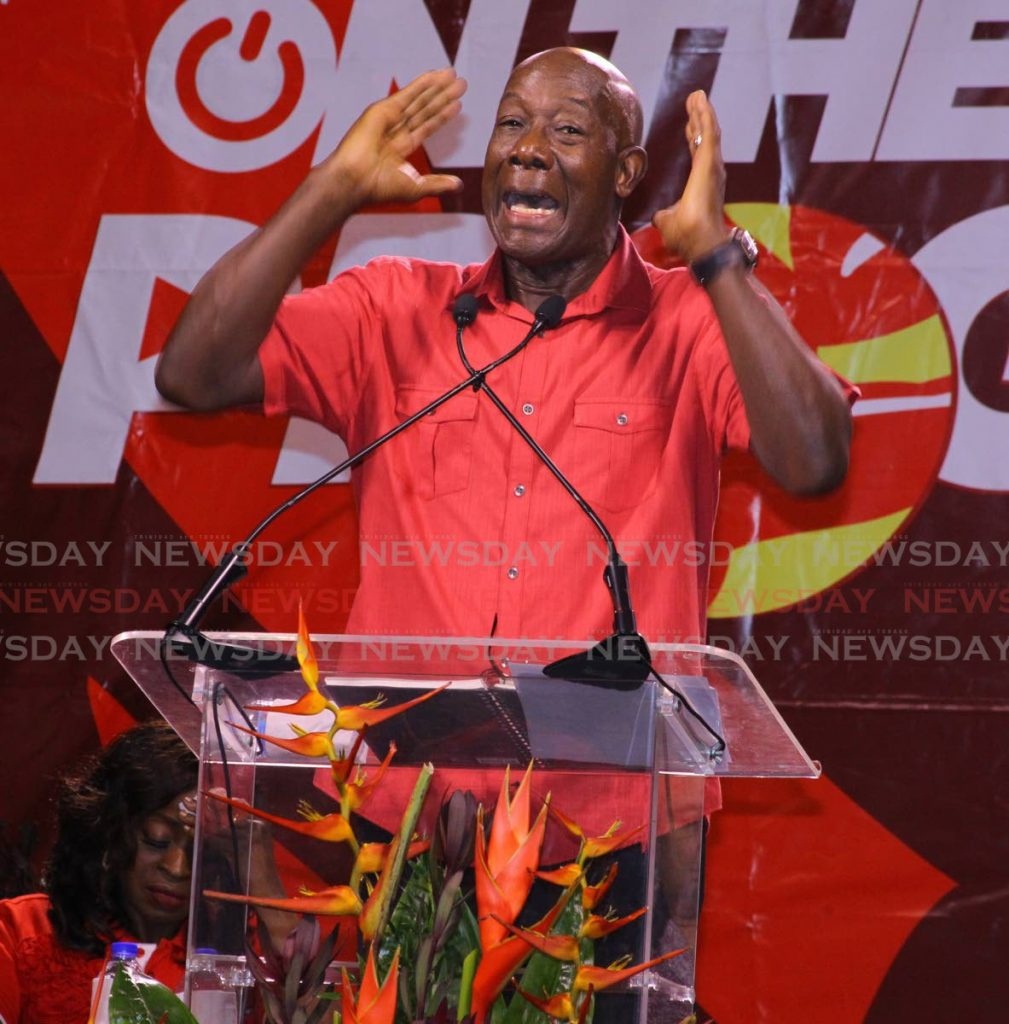 Prime Minister Dr Keith Rowley speaks at a PNM meeting at Piggot's Corner, Belmont on October 18, 2019. The PNM held a meeting at Piggot's Corner last Thursday. File photo -