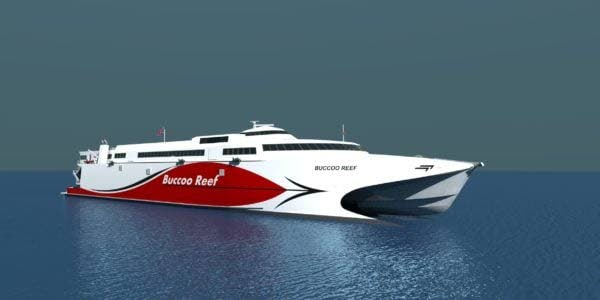 An artist's rendering of the Buccoo Reef catamaran which will be servicing the seabridge soon. The vessel, bought by the TT Government, is on its way to TT.  -