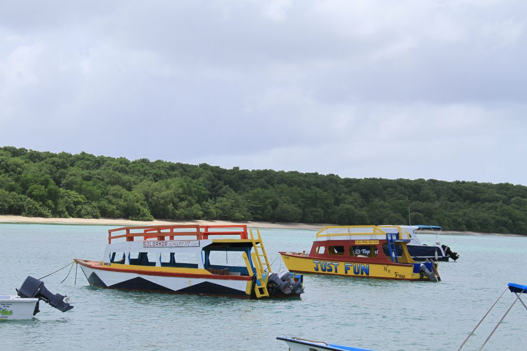 Glass bottom boats sit on the waters at Buccoo, Tobago