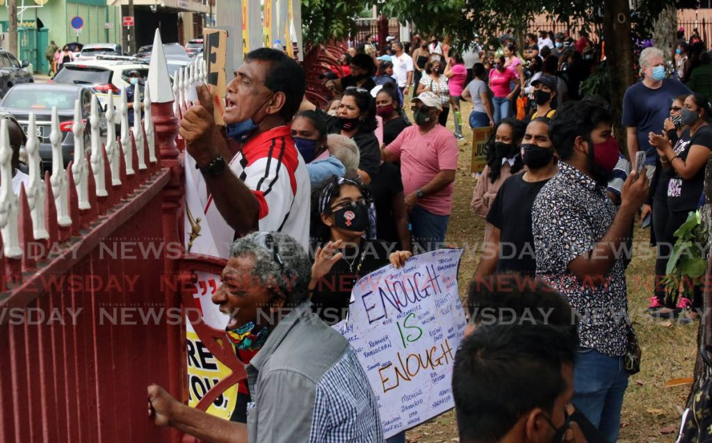 File photo: A recent protest against gender-based violence at Woodford Square.