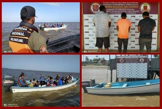 A composite photo of the vessels which were intercepted and the three men suspected of being linked to a criminal gang in Venezuela. - Photo taken from El Periodico del Delta