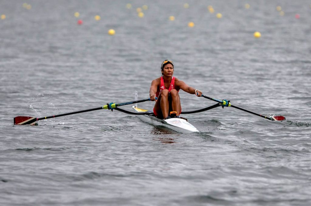 In this July 22, 2018 file photo, silver medallist Felice Chow of Trinidad and Tobago, in action at the 23rd Central American and Caribbean (CAC) Games in Barranquilla, Colombia. (AFP PHOTO) -