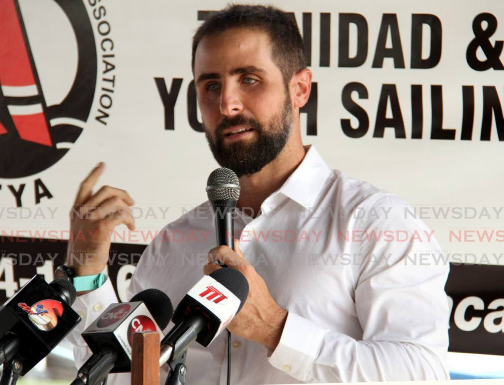 TT sailor Andrew Lewis speaks during a press conference,on Thursday, at the TT Yachting Association, Chaguaramas. - Ayanna Kinsale