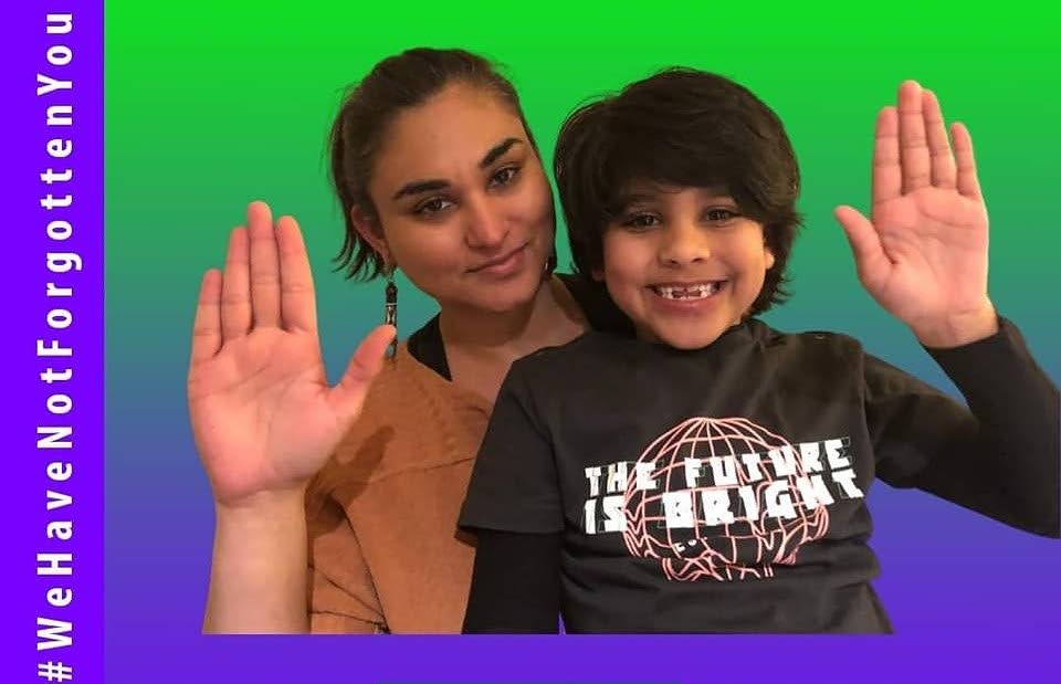 UK-based TT diaspora advocacy group Faith In Our Destiny member Shivdi Singh and her son, Tejas Healy-Singh, in an image for the campaign #WeHaveNotForgottenYou.