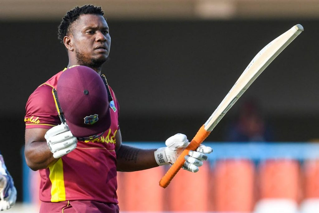 Evin Lewis of West Indies celebrates his century during the 2nd ODI match against Sri Lanka at the Sir Vivian Richards Cricket Stadium in North Sound, Antigua, on Friday.  - (AFP PHOTO)