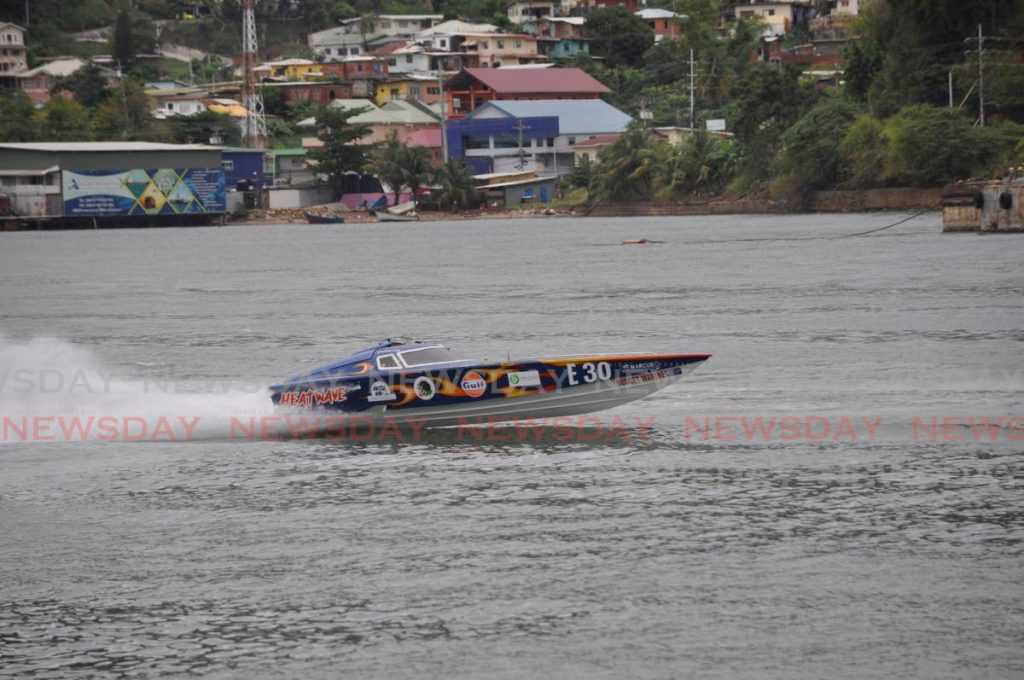 Powerboat Heatwave races in the E-class of the 2021 TT Powerboat Association National Championship Series, off the coast of Carenage, on Sunday. Photo by Ronald Daniel
